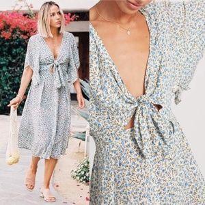 FAITHFULL THE BRAND Massimo Floral Tie Midi Dress